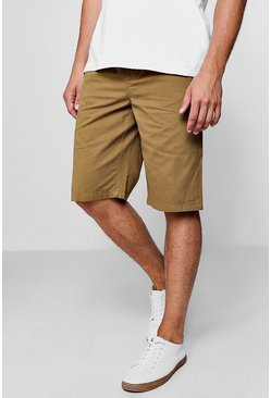 Mens Khaki Chino Short With Elasticated Waistband