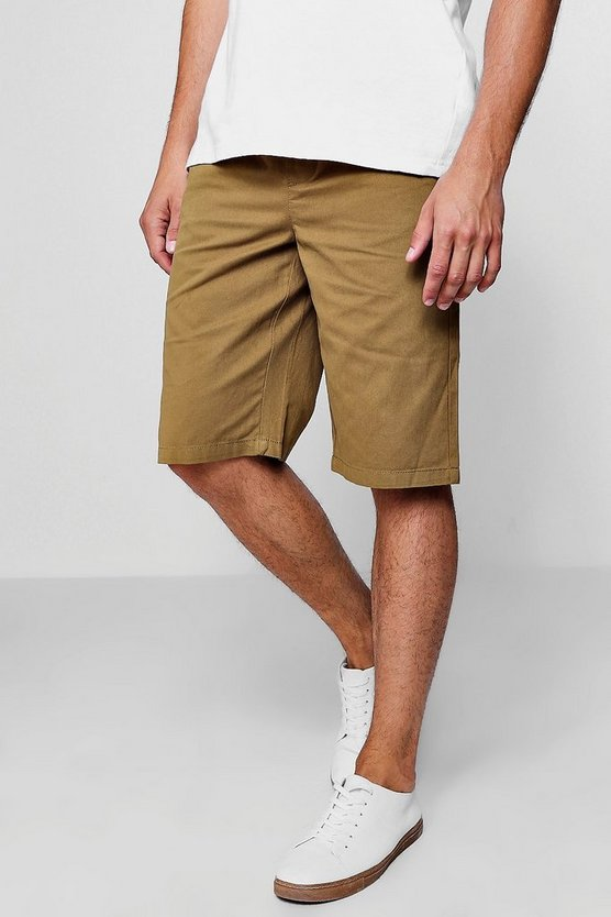 Khaki Chino Short With Elasticated Waistband
