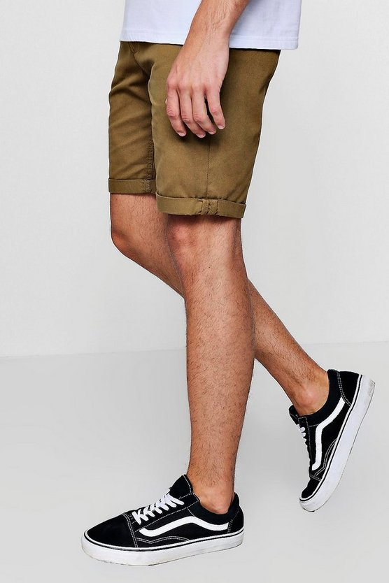 Mens Green Green Chino Short With Turn Up Hem