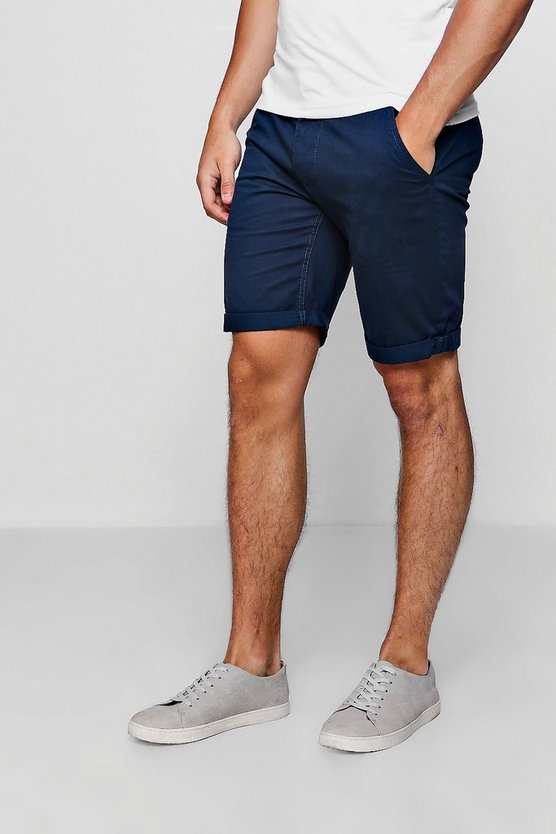 Blue Chino Short With Turn Up Hem