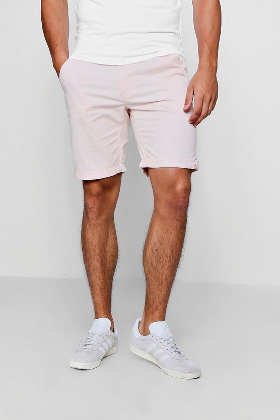 Pale Pink Chino Short With Turn Up Hem