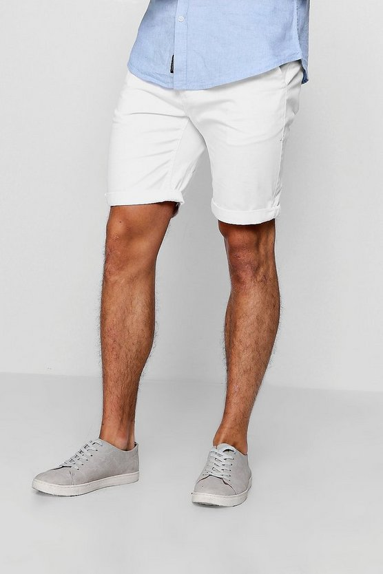 White Chino Short With Turn Up Hem