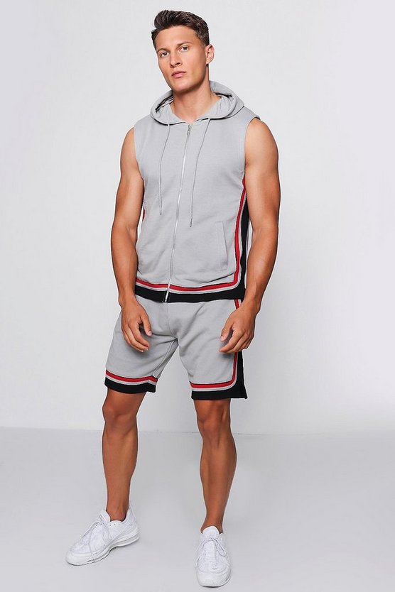 Sleeveless Hoodie & Short Set Contrast Trim
