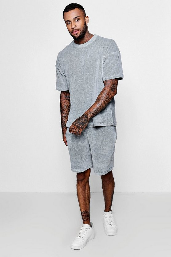 Mens Grey Velour Drop Shoulder & Short Set