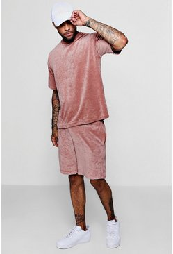 Mens Light pink Velour Drop Shoulder Tee & Short Set