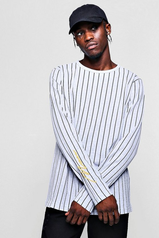 Long Sleeve Stripe Pique T-Shirt
