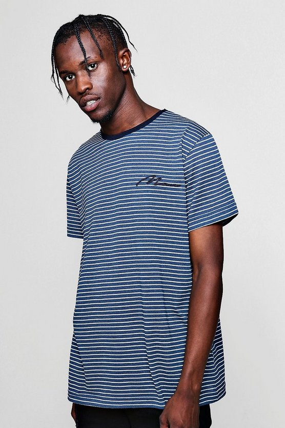 Mens Navy MAN Signature Pique Jacquard Stripe T-Shirt
