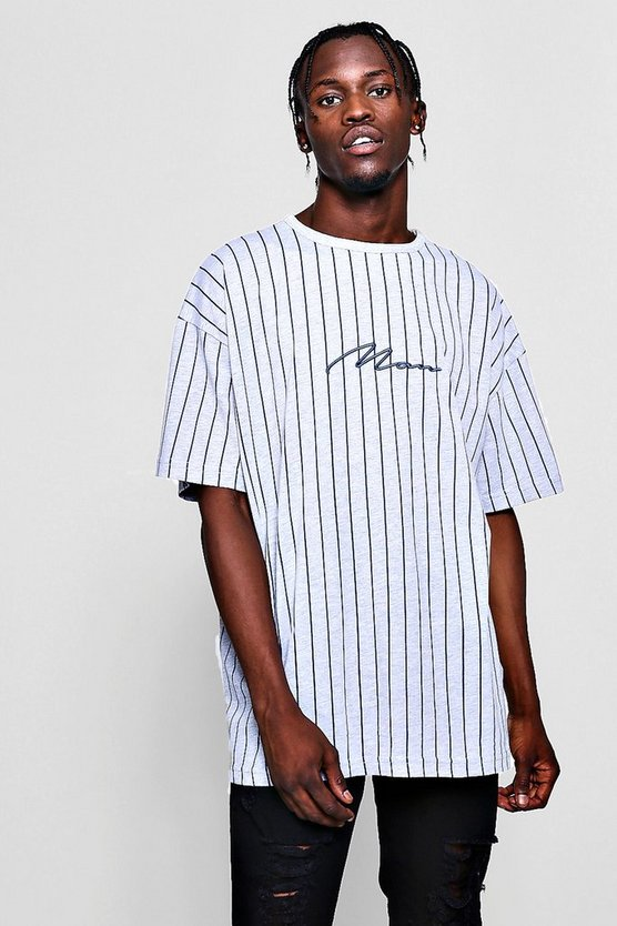 Mens Grey Oversized MAN Signature Stripe T-Shirt