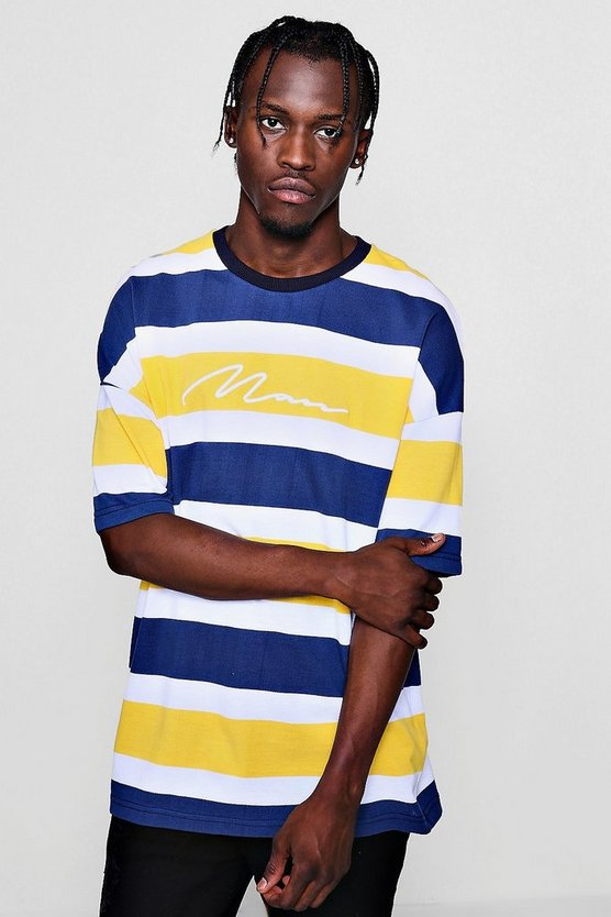 MAN Signature Stripe Pique Drop Shoulder T-Shirt
