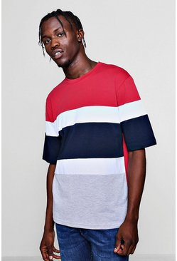 Mens Red Drop Shoulder Colour Block T-Shirt With 3/4 Sleeves