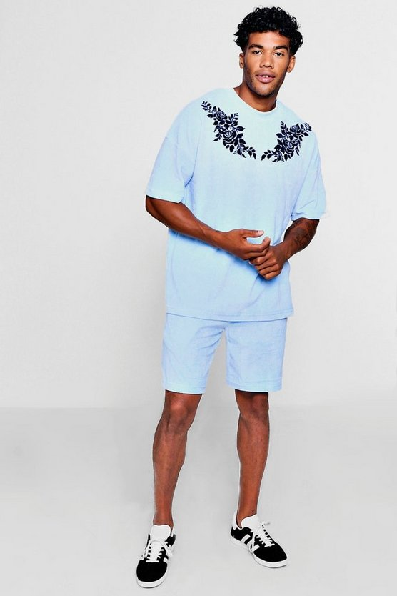 Mens Blue Drop Shoulder Flock Print Velour Short Set