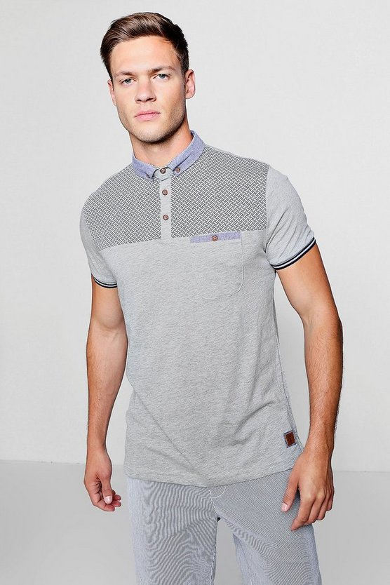 Contrast Print Polo With Woven Collar, Grey, МУЖСКОЕ