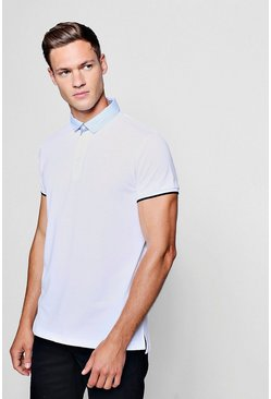 Mens White Pique Polo With Contrast Collar