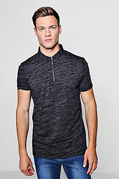 Jersey Polo With Tech Zip Placket