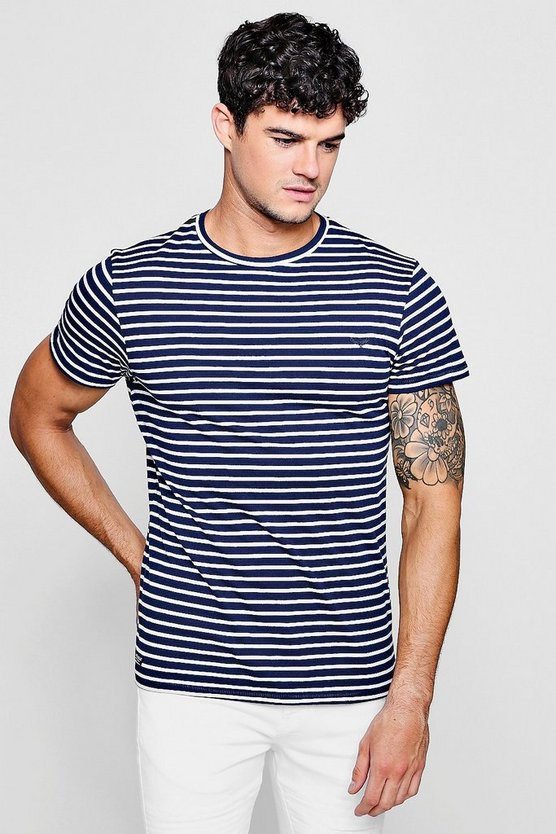 Crew Neck T-Shirt In Nautical Stripe, Navy, МУЖСКОЕ