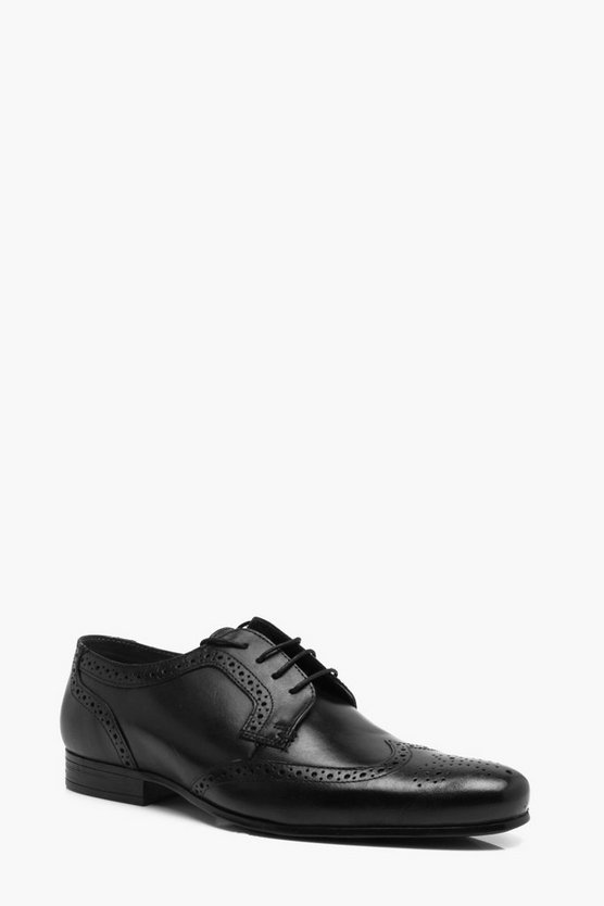 Black Real Leather Wingcap Brogue