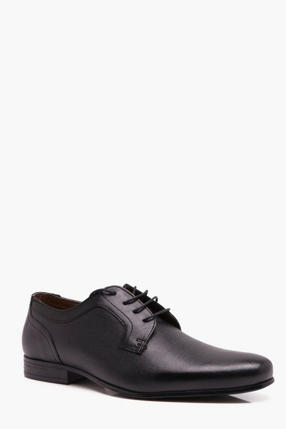 Real Leather Cross Hatch Emboss Formal Shoe