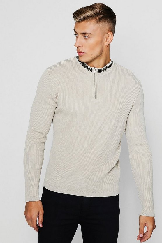 Zip Detail Long Sleeve Rib Knitted Polo, Stone, МУЖСКОЕ