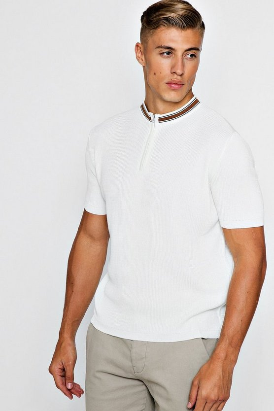 Mens Cream Zip Detail Short Sleeve Rib Knitted Polo