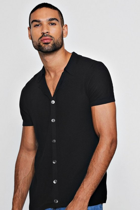 Mens Black Revere Collar Button Through Knitted Shirt