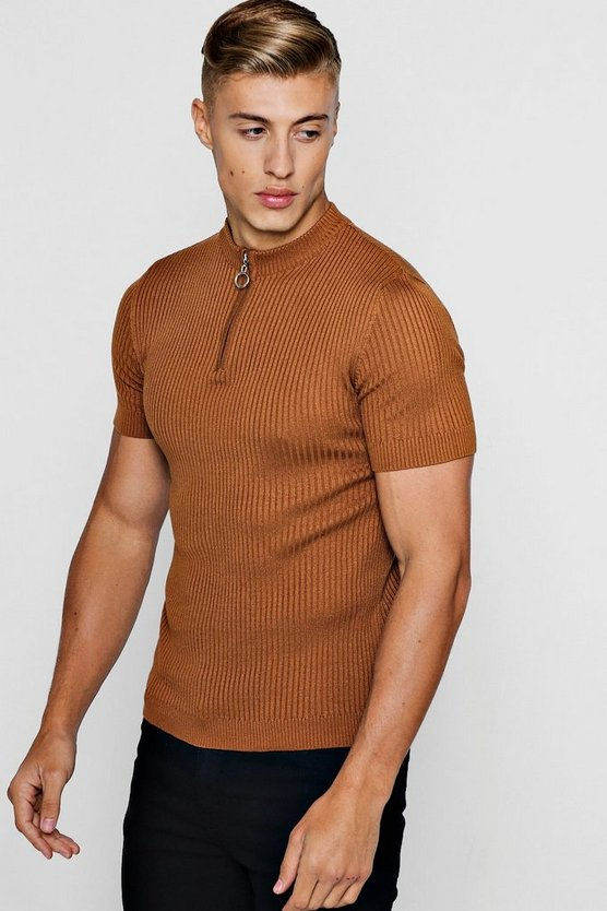 Short Sleeve Rib Knitted Turtle Neck