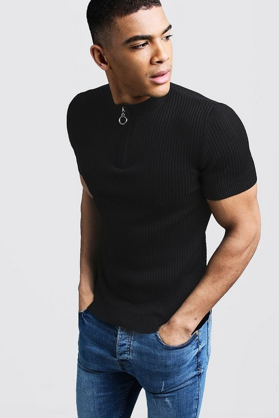 Mens Black Short Sleeve Rib Knitted Zip Turtle Neck