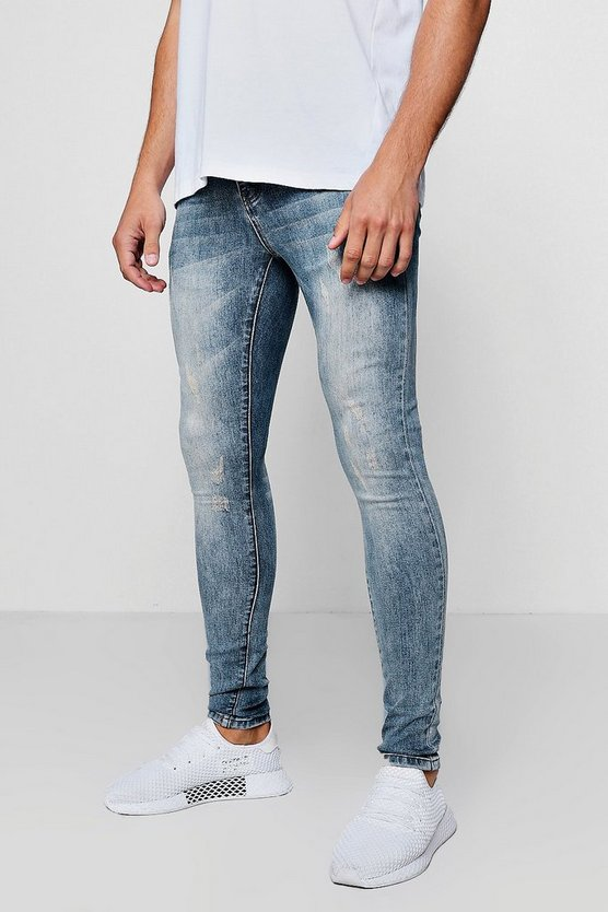 Mens Pale blue Super Skinny Jeans With Back Pocket Embroidery