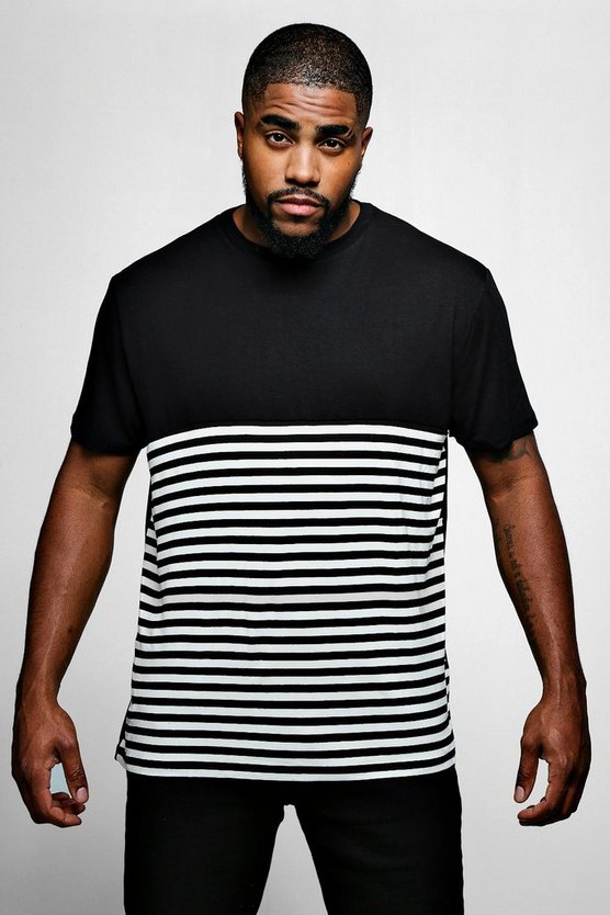 Mens Black Big And Tall Half Stripe T-Shirt