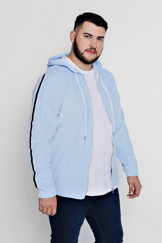 Big And Tall Side Stripe Velour Hoodie