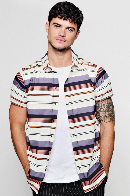 Horizontal Stripe Crepe Short Sleeve Shirt