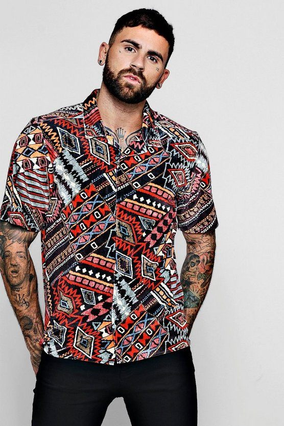 Tribal Velour Short Sleeve Revere Shirt