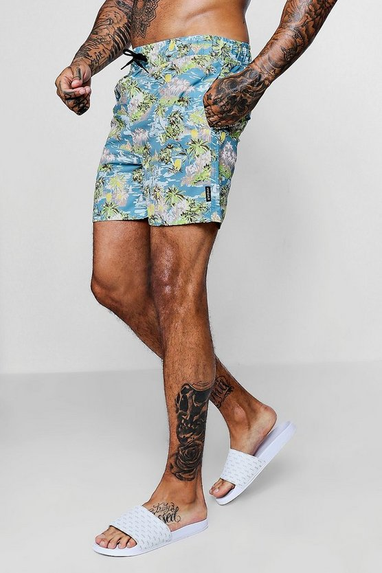 Blue Hawaiin Print Swim Shorts