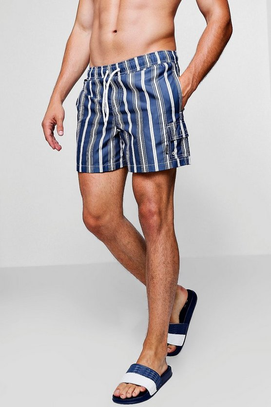 Mens Navy Navy Stripe Swim Short