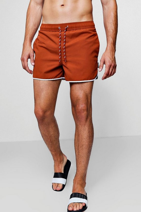 Mens Orange Orange Runner Swim Shorts