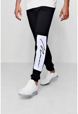 Mens Black Skinny Fit Joggers With Man Signature Panel