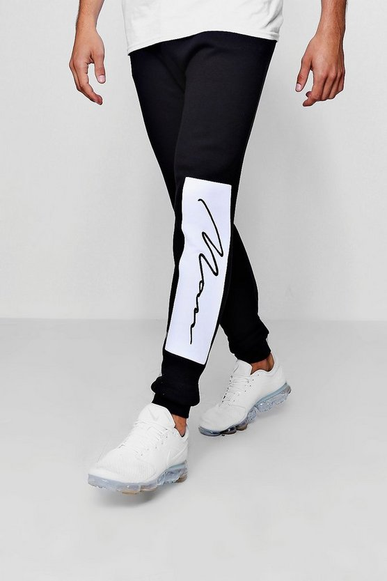 Skinny Fit Joggers With Man Signature Panel