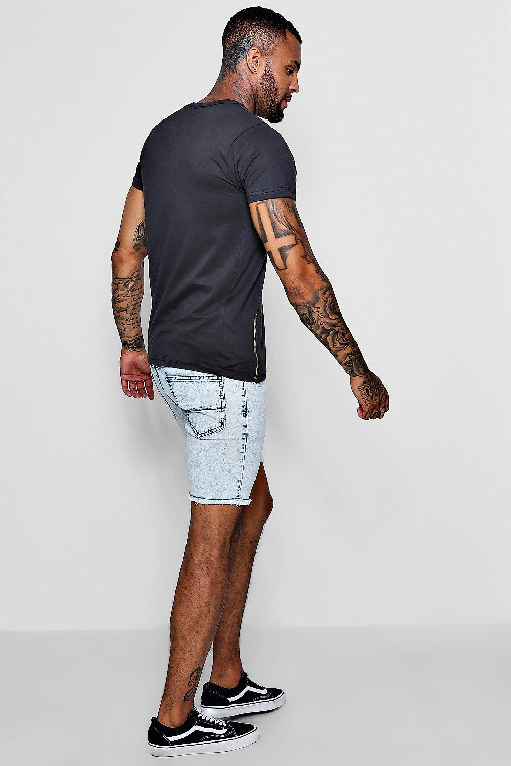 Shorts pale Fit Wash Raw Acid Hem blue Skinny Denim With PBI7faqOw