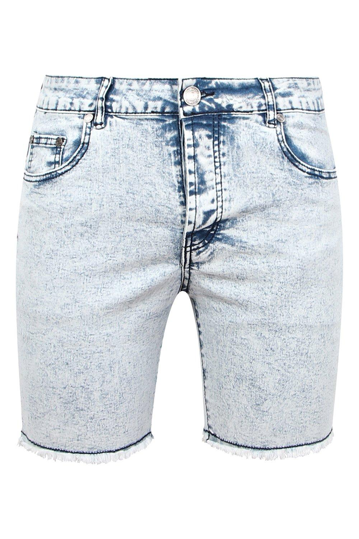 Skinny Raw Fit blue Acid Wash Shorts pale Denim Hem With v1vqFr