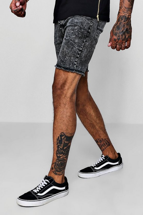 Skinny Fit Acid Wash Denim Shorts With Raw Hem