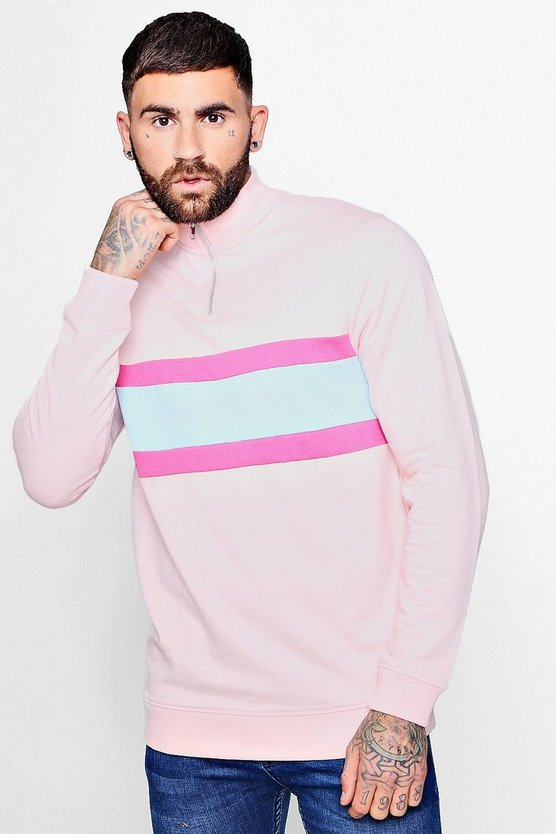 Colour Block Pastel Zip Funnel Sweat