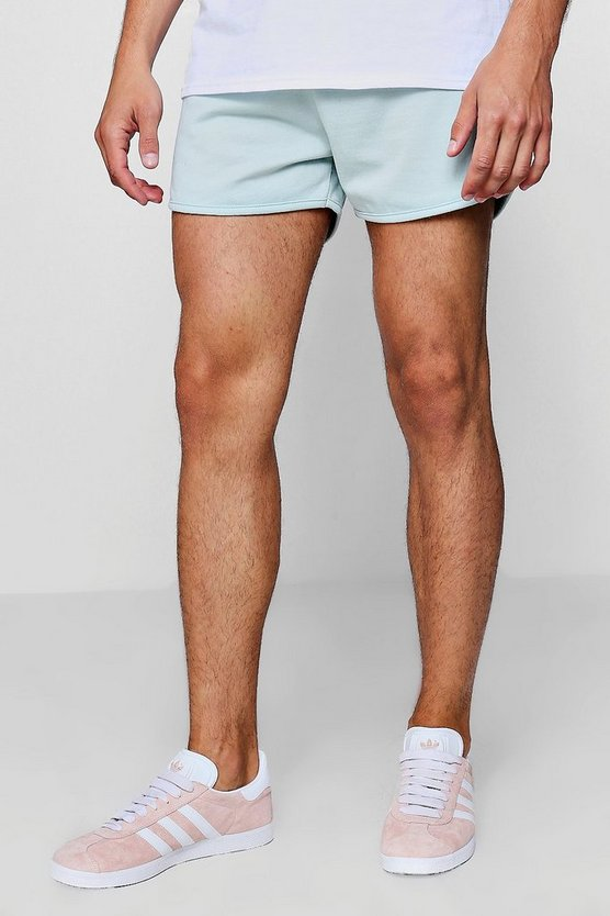 Mens Green Jersey Basic Runner Shorts