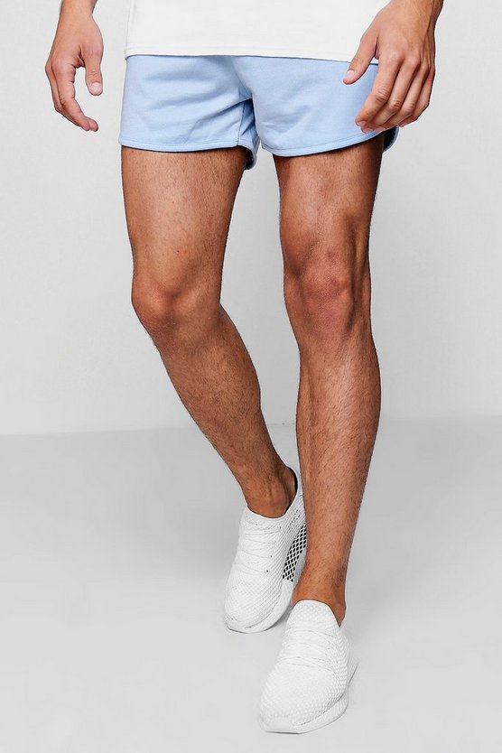 Mens Blue Jersey Basic Runner Shorts