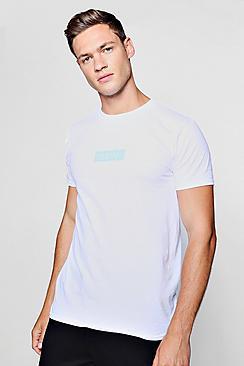 MAN Blue Box Logo Print T-Shirt