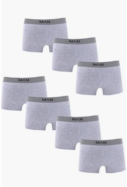 Mens 7 Pack Grey Basic Ma Trunks