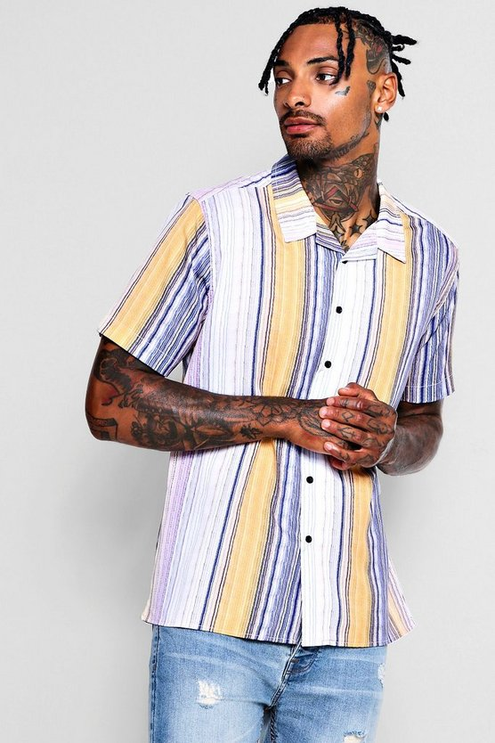 Thin Stripe Revere Short Sleeve Shirt