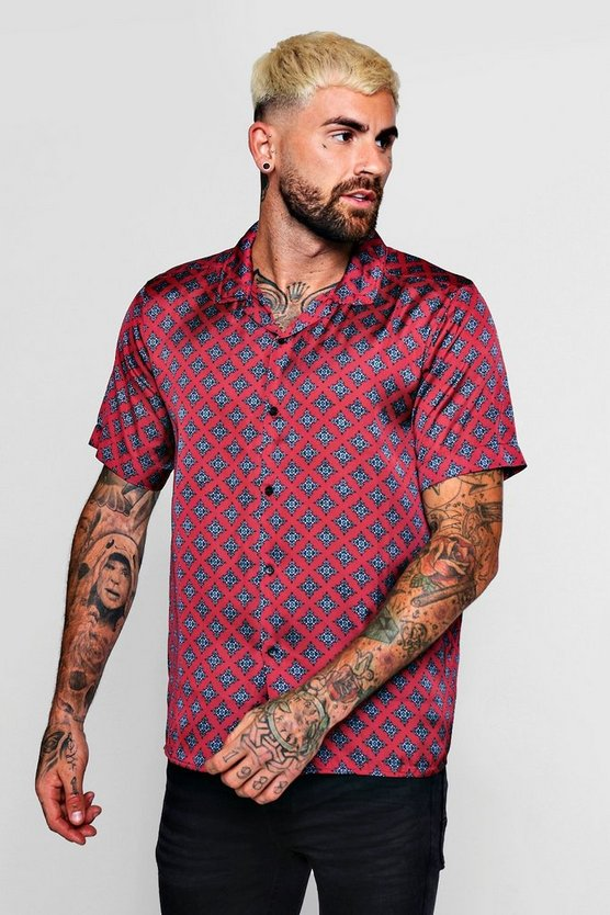Tie Print Sateen Revere Short Sleeve Shirt by Boohoo Man