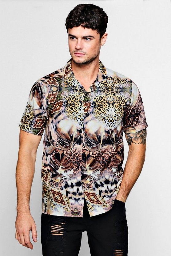 Tropical Leopard Short Sleeve Revere Shirt