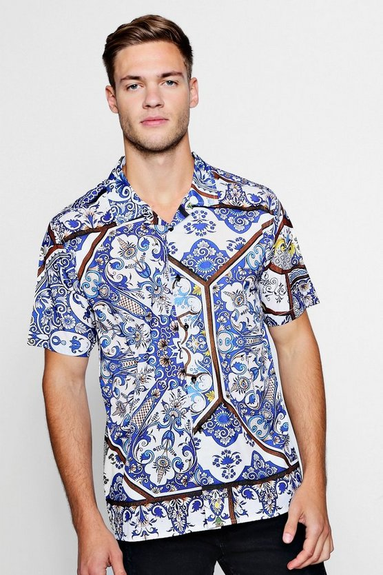 Mens White Tapestry Print Short Sleeve Revere Shirt