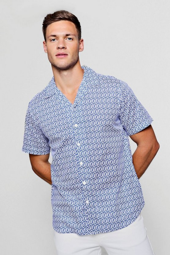Mens White Mini Print Short Sleeve Revere Shirt