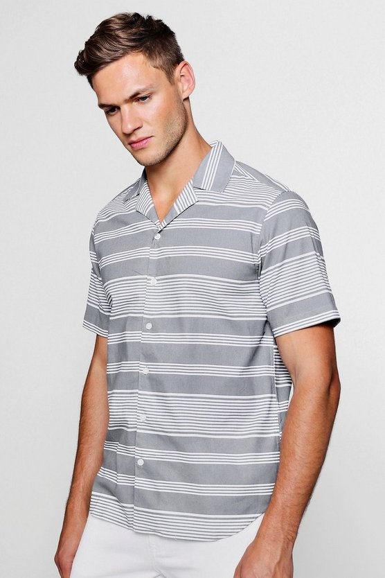 Placement Stripe Short Sleeve Revere Shirt